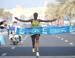 Teenager Tsegaye Mekonnen, who triumphed at the Dubai Marathon this spring, starts in Frankfurt. © www.PhotoRun.net