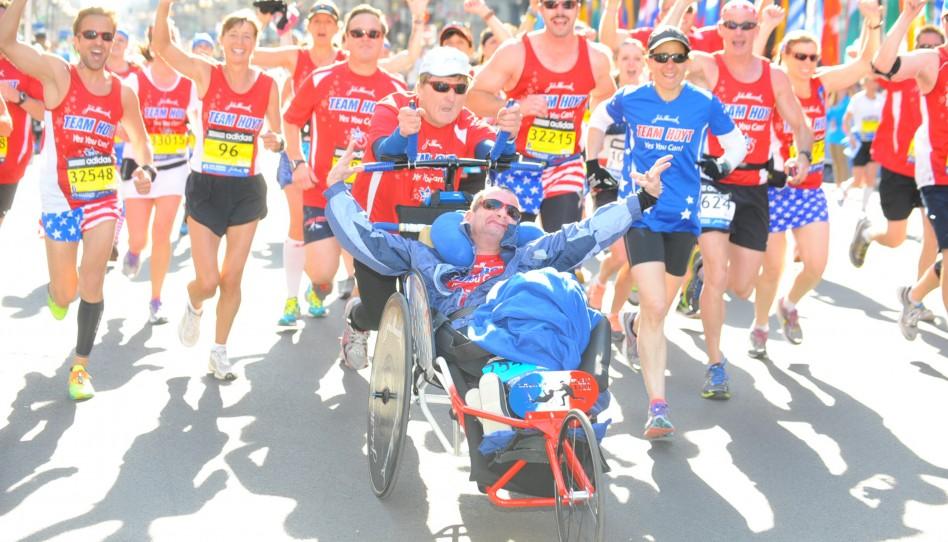 Dick und Rick Hoyt bei ihrem letzten gemeinsamen Boston-Marathon – doch Team Hoyt macht weiter