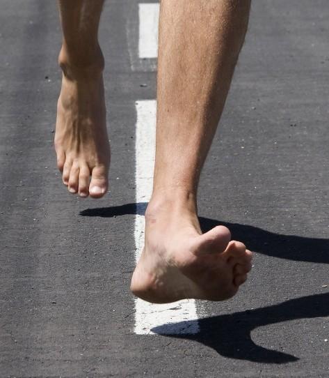 Barfuß beim Berlin-Marathon?