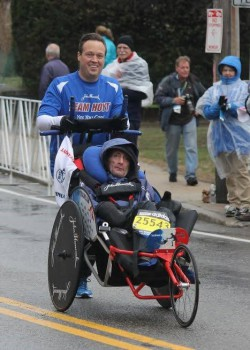 Bryan Lyons and Rick Hoyt at the 2015 Boston Marathon. © Tim Kilduff
