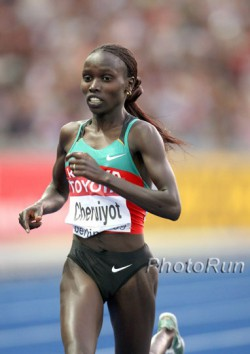 Vivian Cheruiyot, seen here at 2009 World Championships, hopes for a golden long-distance double in London. © www.PhotoRun.net