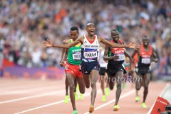 The Olympic champion, Mo Farah, seen here at the 2012 Olympic Games, makes his marathon debut in London. ©www.PhotoRun.net