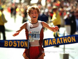 Uta beim Boston-Marathon 1996. © Getty Images/Timothy A. Clary