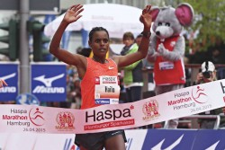Meseret Hailu aims to retain her title in Hamburg and break the course record. © Haspa Marathon Hamburg