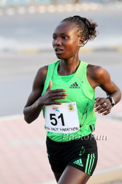 Mary Keitany, seen here at the 2011 RAK Half Marathon, is among the marathon favorites. © www.PhotoRun.net