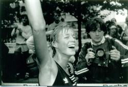 Im Ziel des Berlin-Marathons 1990. Der Lauf in die Freiheit... © H. Steffny