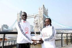 Die Sieger des London-Marathons 2011, Emmanuel Mutai und Mary Keitany, laufen in New York. ©www.photorun.net