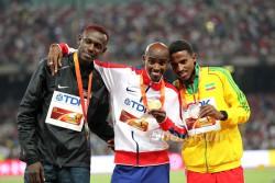 Caleb Ndiku, Mo Farah und Hagos Gebrhiwet waren die Medaillengewinner über 5.000 m. ©www.PhotoRun.net