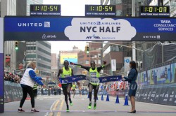 "Leonard Korir and Stephen Sambu ran side by side to the finish in the ""Big Apple."" © www.PhotoRun.net"