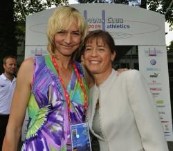 Uta trifft Heike Drechsler, die Weltmeisterin im Weitsprung von 1983 und 1993. ©Camera4